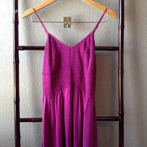 Rebecca Taylor Smocked Spaghetti Strap Maxi Dress